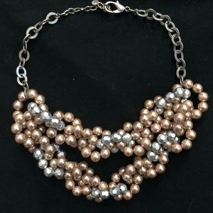 LOFT lavender/pink pearl statement necklace